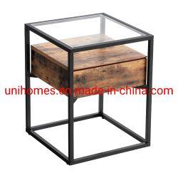 Tavolo industriale con estremità quadrata, tavolo laterale a 2 livelli con ripiano di stoccaggio a rete, arredi in legno con struttura in metallo, regolabile, facile da assemblaggio