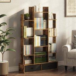 素朴なブラウンの引き出し式書棚(ベッドルーム / リビングルーム用収納棚付き