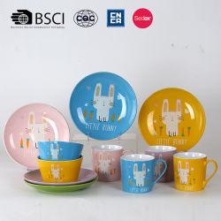 Горячая продажа экологически безвредные керамические 3PCS пластических масс с кролик дизайн для детей с помощью