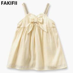 2022 المصنع سعر الجملة عالية الجودة الصيف فتاة فاتنة ثوب أصفر قطني للطفل