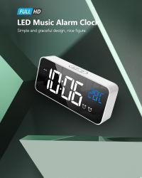 La decoración del hogar digital Reloj LED Reloj de pared Reloj de alarma de espejo de ahorro de energía con función Snooze