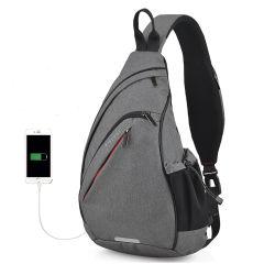 주문 남자 메신저 부대 USB 비용을 부과 포트를 가진 작은 학교 Crossbody 어깨 책가방 남자 가슴 새총 부대