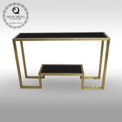 Oro moderna mesa de la consola de acero inoxidable con cristal templado negro Top