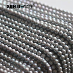 7-8mm AA gris de la calidad de agua dulce natural de la Ronda de proveedor mayorista de material de perlas, Perlas Zhuji (XL180087)
