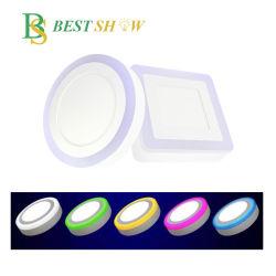 لوحة LED مستديرة مربعة مزدوجة الألوان ومُثبَّتة على سطح RGB بقدرة 6 واط 9 واط، 16 واط، 24 واط