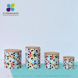 Keramischer Kanister-gesetztes Gewürz-Glas u. Flaschen-Küchenbedarf-Bambus-Kappe