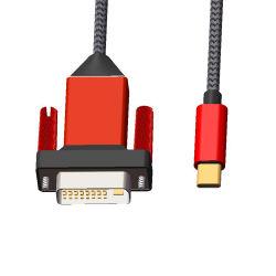 Het uitstekende kwaliteit Gevlechte USB 3.1 Mannetje van het Type C aan de Mannelijke Convertor HD 1080P van de Kabel van de Adapter DVI