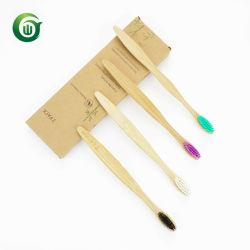 الصين مصنوعة بسعر مناسب من النايلون القابل للتحلل البيولوجي فرشاتان الأسنان الخيزران 2 العبوة