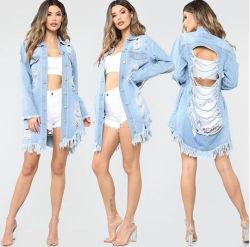2 Farben-Denim-Umhüllungen für Frauen-Weinlese-beiläufiger Mantel-gebrochenes Loch der weiblichen Jean-Oberbekleidung-Frauen Mäntel plus Größe