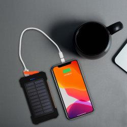 Banco de potencia de 8000mAh LED linterna y sos de doble lámpara de aviso de emergencia portátil USB cargador de batería solar Teléfono