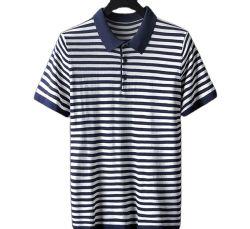 Дешевые 100% хлопок Пике короткие втулки пряжи домашний полосой мужчин рубашки поло
