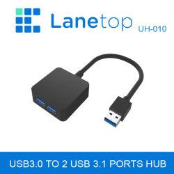 Lanetop 10Gbps / USB3.0A Macho a 2 puertos USB 3.1 HUB