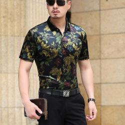 Camisa Floral Homens vestem Camisas Flower Imprimir Casual Camisa de seda