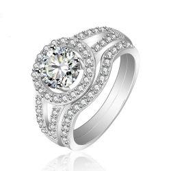 Luxe 925 Sterling Silver Wedding Engagement Zircon CZ Ring Set Voor vrouwen