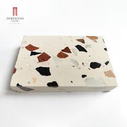 큰 크기 으깸 까만과 주황색 자연적인 대리석 물자 백색 인공적인 테라조 돌 석판