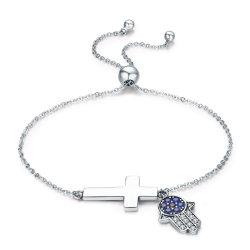 925 bracelete de prata esterlina mão Hamsa & Cruz Fé Power Lace Up Mulheres Dom jóias de Link