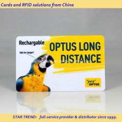 Cartão de PVC com tarja magnética para cartão de telefone recarregável
