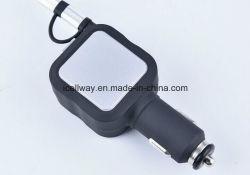 Port double chargeur de voiture USB promotionnel personnalisé avec un câble USB rétractable pour iPhone