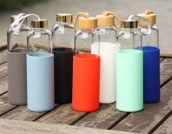 Bewegliche Bambuskappen-Raum-Glastrinkwasser-Flaschen-fördernde Sport-Tee-Flasche