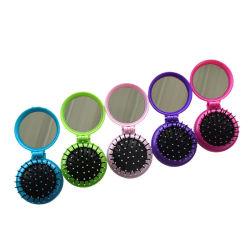Beweglicher faltender Haar-Pinsel mit Spiegel, kompakter Pocket Haar-Kamm für Arbeitsweg-Geschenk-Idee, runder Pop-up Haar-Pinsel