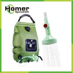 Le chauffage solaire Sac de camping d'eau chaude douche avec flexible amovible commutable on/off de la tête de douche pour la randonnée pédestre, les voyages