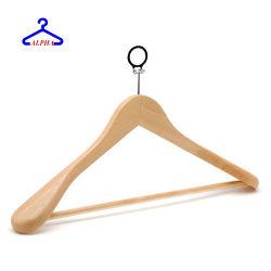 Freie Probe passte Firmenzeichen-Holz/Mantel/Klage/deluxes/dick/Wäscherei/hölzernes/Kleidung/Tuch/Kleidungs-/Hemd-/Kleid-/Hotel-Aufhängungs-Mantel-Standplatz mit diebstahlsicherem Ring an