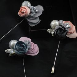 Metal Decoración insignia de solapa tejido artesanal Flor Broche de solapa Pin