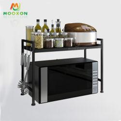拡張可能なオーブンの立場の台所記憶の棚のスパイスのオルガナイザーのマイクロウェーブラック