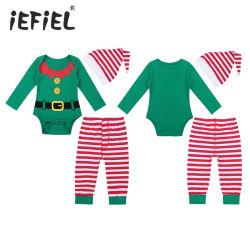 Säuglingsbaby-langes Hülsen-Digital gedrucktes Spielanzug-gestreiftes Hosen-Hut-Weihnachtskostüm