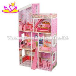 클래식 3층, 여아용 핑크 나무 애정 가족 인형집 W06A382