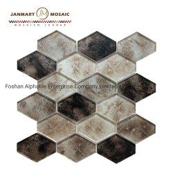 ホーム装飾の壁の黒のブラウンのセラミックタイルのモザイクひし形のモザイク・タイルの水晶はガラスモザイク・タイルのガラス装飾的な壁をタイルを張る