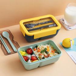 Simple Single-Layer Large-Capacity estudiante Microwave-Heated Fiambrera con la vajilla