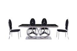 Mesa de comedor de diseño italiano con cristal templado negro Top