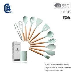 12개 부엌 용품 조리용 플라스틱 가젯 실리콘 조리기구 주방용품 주방 작동기구 세트, 나무 손잡이