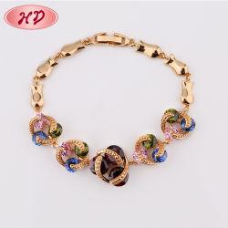 Popular caliente joyas de oro Rosa 18K encanto Pulsera de cristal
