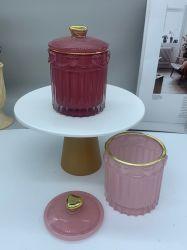 Hersteller Großhandel Hohe Menge Farben Glas Jewel Glas Runde Kerze Glas Frosted Schwarz Beschichtet Kerzengefäße Glas Kerzenhalter