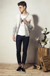 100%Algodón tricotado con cuello en V de la moda hombres Cardigan Jersey con el botón