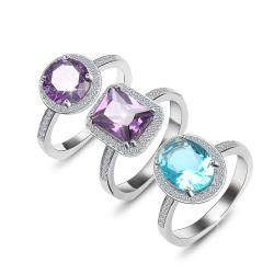 Anelli di fidanzamento su ordinazione della pietra preziosa dei monili degli anelli dell'argento sterlina di modo 925