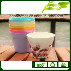 Fibre de bambou écologique des pots de fleurs colorées et pot de semoir