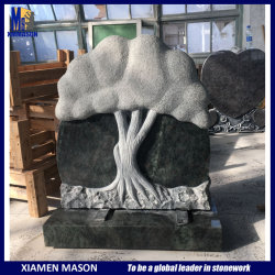 Rustikaler u. Hand geschnitzter antike vollständige Baum-Massen-blauer Granit-Grundstein