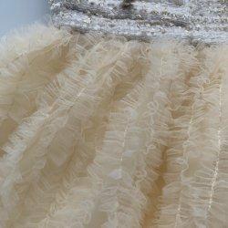 Lado da Fita de pregas bordados fofo diafragmas congelados de tecido de malha