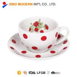 花のステッカーが付いている卸し売り240ml陶磁器の茶カップ・アンド・ソーサー