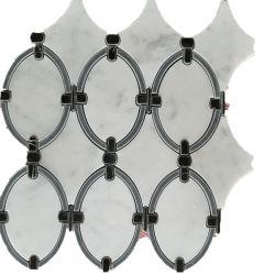 Pietra marmo bianca nuovo disegno decorazione Waterjet Mosaic Tile