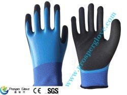 13Gナイロンはさみ金の倍のニトリル防水のための上塗を施してあるサンディによって終えられる作業手袋