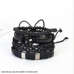 Retro braccialetti degli uomini del braccialetto del cuoio di fascino dei monili
