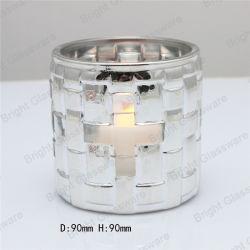China-Lieferanten-Silber-runder QuerVotive Kerze-Glashalter