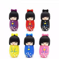 Japanischer Puppe-Kimono-Mädchen-Zoll Kurbelgehäuse-Belüftungusb-greller Feder-Laufwerk 4GB 16GB 32GB 64GB Platte-Blitz USB-Speicher-Stock Soem-U