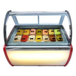 Il materiale dei piatti 304 dell'annuncio pubblicitario 14 ha curvato il Governo duro del dispositivo di raffreddamento della visualizzazione del frigorifero della vetrina del gelato dell'Italia Gelato del portello di vetro di scivolamento