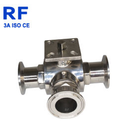 RF 고품질 스테인리스는 빨리 3방향 높은 플래트홈 위생 공 벨브를 설치한다