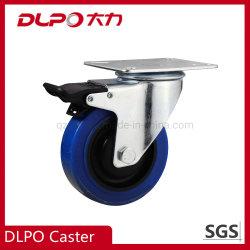 Dlpo Galvaized Fußrollen-blaues elastisches flaches Fußrollen-Gummirad mit Nylonbremsen für erstklassige Flug-Fälle